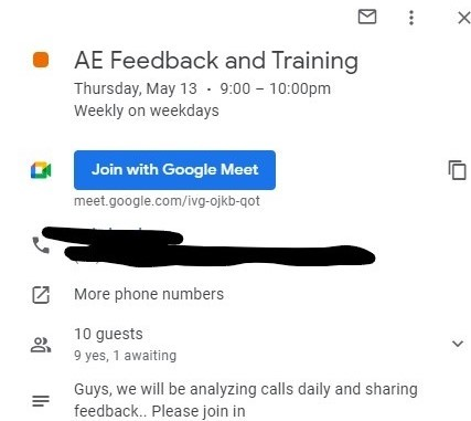 Screenshot of how training is scheduled at Slintel.