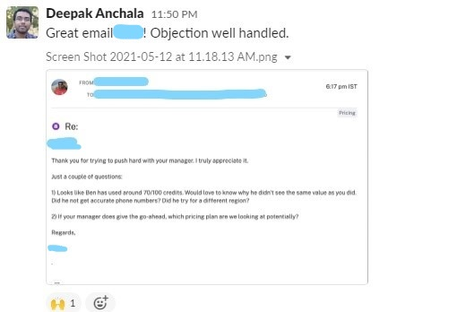 Example of good outreach email that was used by our AEs at Slintel.