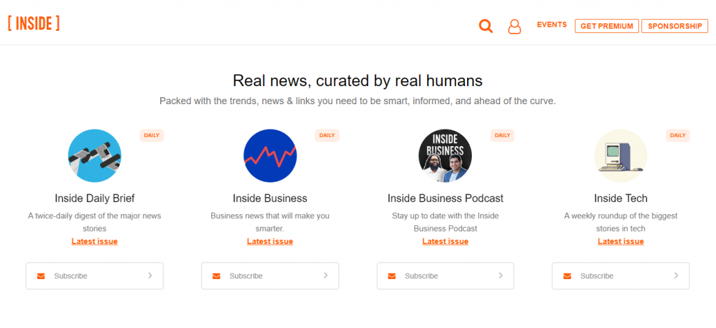 This image shows the different types of newsletters you can subscribe at Inside.