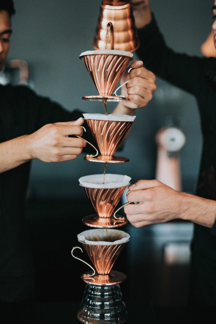This image is a representation of how a lead moves through the qualification funnel by comparing it to a coffee filtration method.