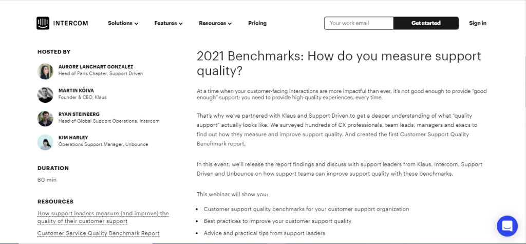 This image is a screenshot of the Intercom company webinar page.