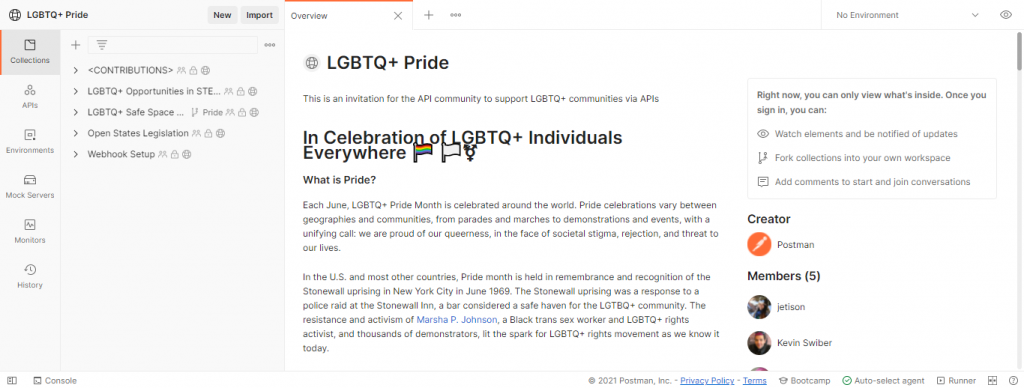 This image shows the information regarding the LGBTQ space created by Postman.com