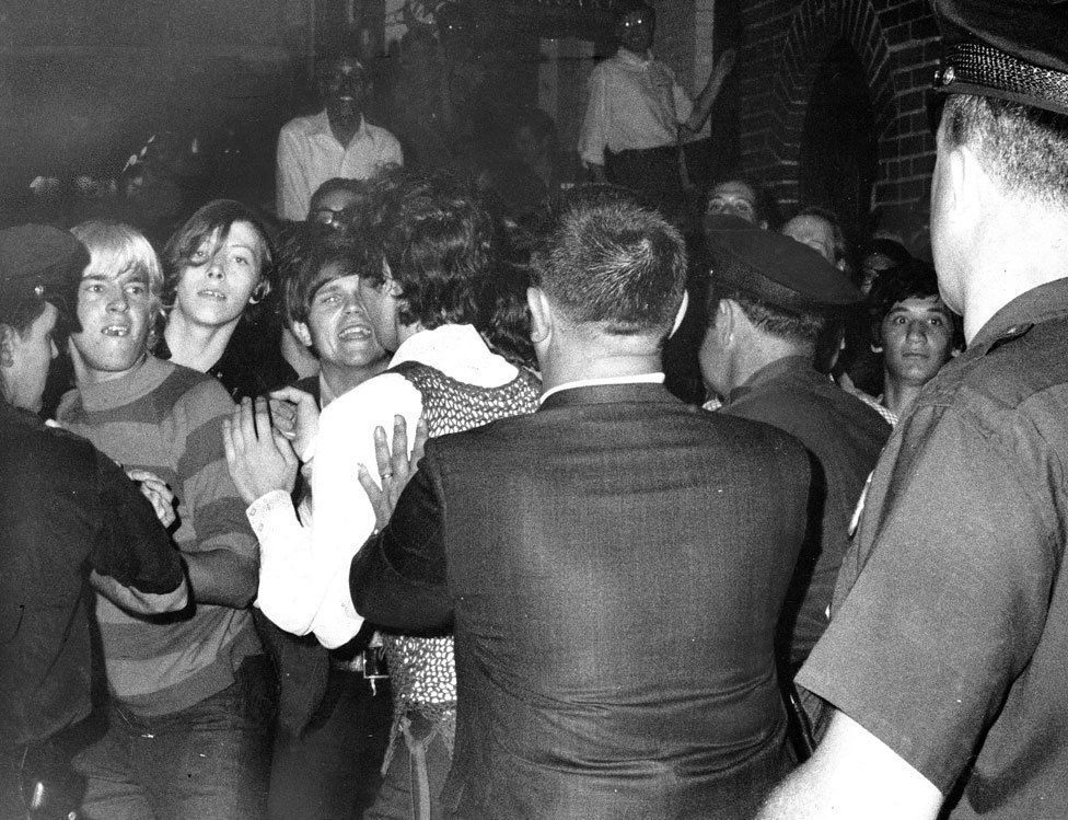 This image shows the riots that took place outside Stonewall Inn, NY on June 28, 1969