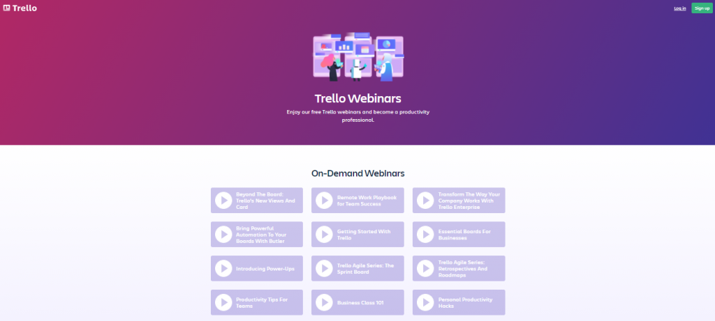 This image is a screenshot of the Trello company webinar page.