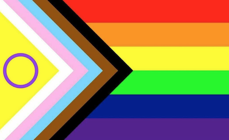 The PRIDE flag redesigned to represent Intersex folks.