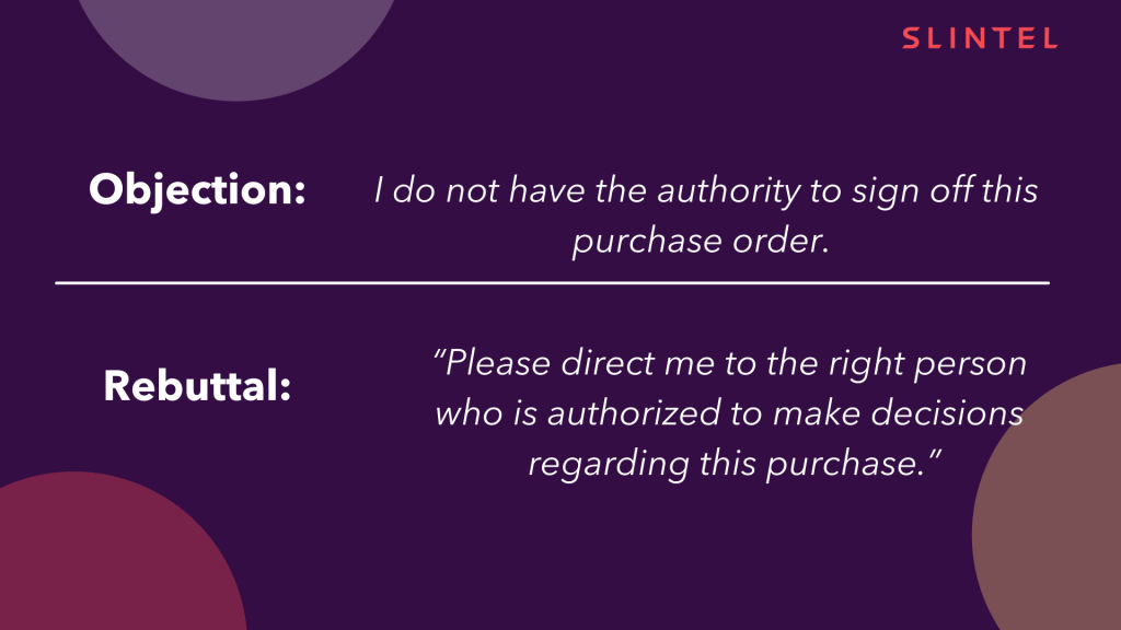 This image describes authority sales objection and the proper method for this objection handling.